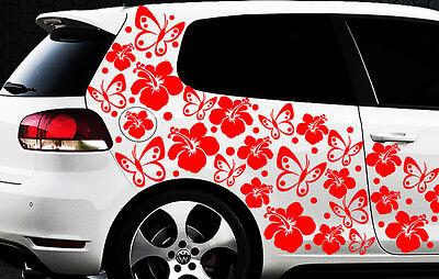 98-piezas Pegatinas De Coches Flores Del Hibisco Mariposas HAWAII WANDTATTOO 211