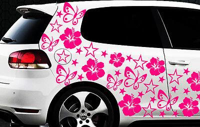 114x Pegatinas De Coches Estrella Hibiskus Flor z Mariposas HAWAI WANDTATTOO