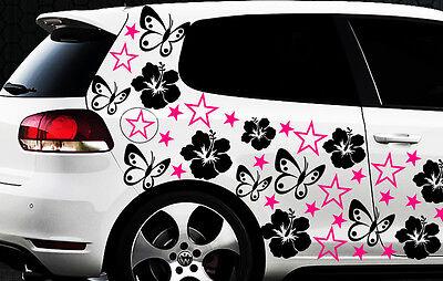 114x Pegatinas De Coches Estrella Hibiskus Flor b Mariposas HAWAI WANDTATTOO