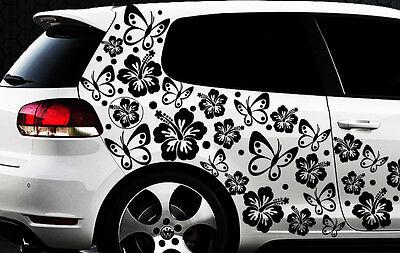 96x piezas XXL Pegatinas De Coches Flores Del Hibisco Mariposas HAWAII
