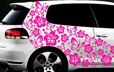 96x piezas XXL Pegatinas De Coches Flores Del Hibisco Mariposas HAWAI WANDTATTOO
