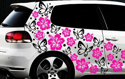 96x piezas XXL Pegatinas De Coches Hibiskus Flor Mariposas HAWAII WANDTATTOO