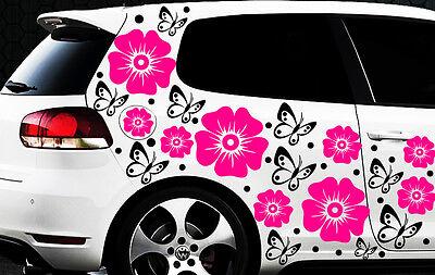 108 piezas kit pegatinas de coches Hibiskus Flor Mariposas hawaii3 Wandtattoo