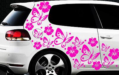 122 piezas Pegatinas De Coches Flores Del Hibisco Mariposas HAWAII j WANDTATTOO