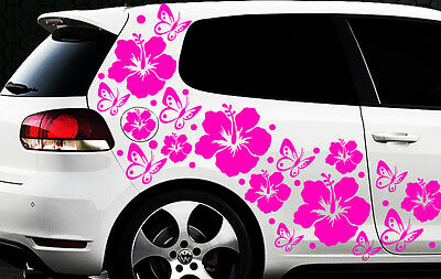 122 piezas Pegatinas De Coches Flores Del Hibisco Mariposas HAWAII 1 WANDTATTOO