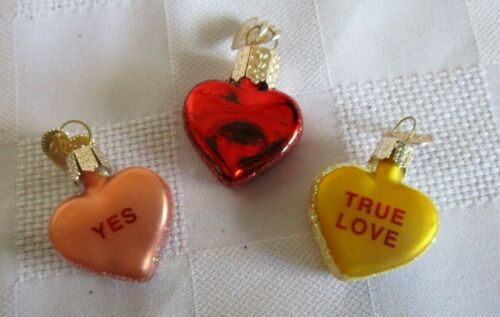 OLD WORLD CHRISTMAS  3 Valentine Conversation Hearts Glass Ornaments SHIPS FREE