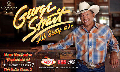 "GEORGE STRAIT ""ALL SIXTY #1'S"" 2017 LAS VEGAS CONCERT TOUR POSTER- Country Music"