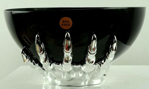 """Halloween Black Candy Bowl w Silver Witch Hands for Base 10"""" Diameter New"""