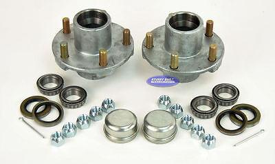 (2)- Boat or Utility Trailer Hot Dipped Galvanized Hub 5 Lug 1 1/16 Inch Kit