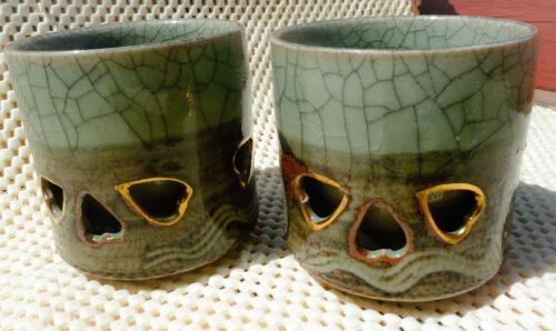 Pair of Somaware Somayaki Prancing Horse Double Wall Tea Cups