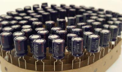 - Lot of 100 New Panasonic 470uF 10V Aluminum Electrolytic Capacitors