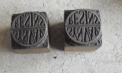Lot Of 2 Vintage Synvar Resins Wood Metal Letterpress Print Block Stamps