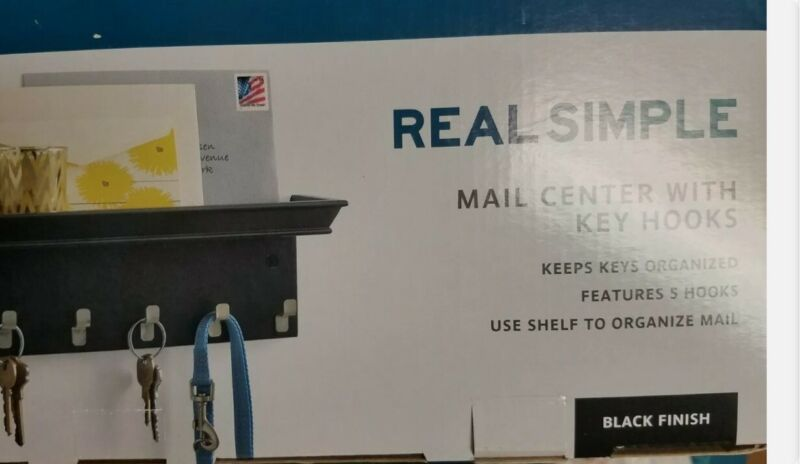 Real Simple Wall-Mounted Mail and Key Rack - Black