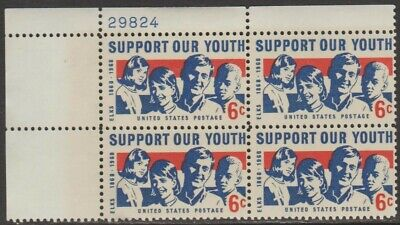 Scott# 1342 - 1968 Commemoratives - 6 cents Support Our Youth Plate Block (A) ()