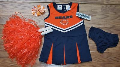 CHICAGO BEARS CHEERLEADER OUTFIT HALLOWEEN COSTUME DRESS BLOOMERS POM POMS 4T](Chicago Halloween Costume)
