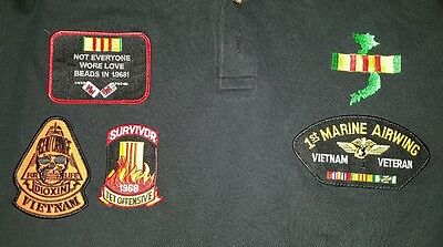 4 military patches VIETNAM, Marines, on polo shirt EUC