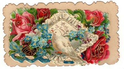 Vintage Beautiful Victorian Hidden name card With my Love white Dove  Roses