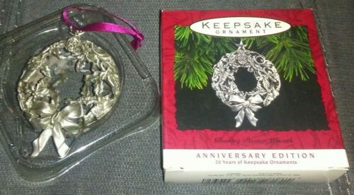 RARE Hallmark Ornament FINE PEWTER Wreath ANNIVERSARY EDITION 20YR Keepsake(EUC)