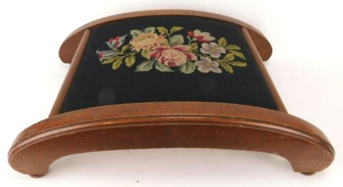 Vintage Wooden Footstool With Needlepoint Embroidered Top Unique Shape