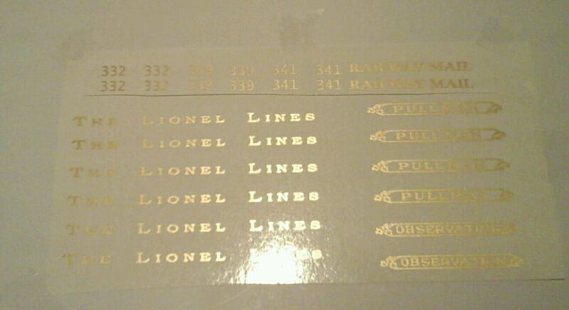 LIONEL STANDARD SCALE 332-339-341 GOLD METALLIC WATERSLIDE DECALS PASS.SET LOOK!