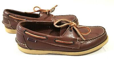Sebago Docksides Mens Brown Leather Boat Shoes Size 8 1/2 M Lace 2 eyelet