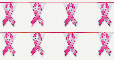 Breast Cancer Decor (2-100' Pink Ribbon Pennant Flag Banner Decor Breast Cancer Float Supply 200)