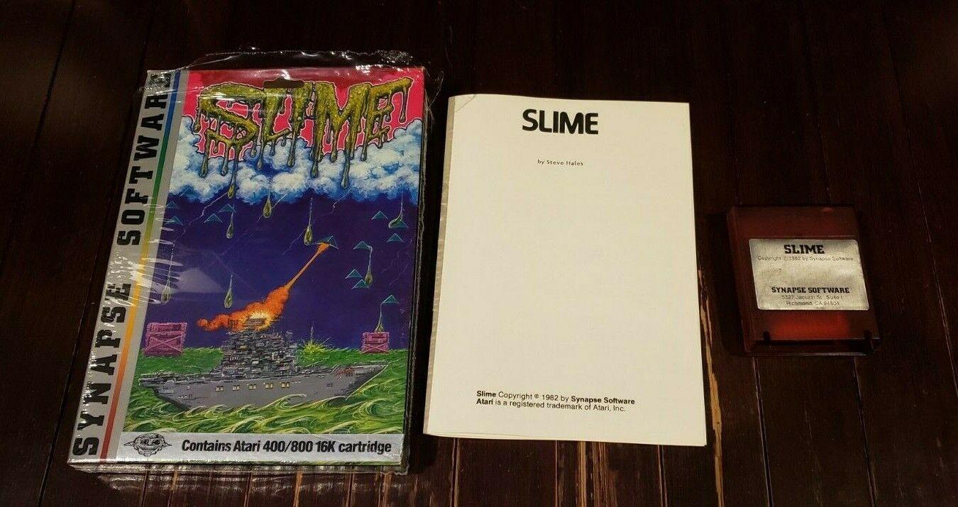 Computer Games - Atari 8-bit Computer SLIME game cartridge Synapse Software 400 800 Complete CIB
