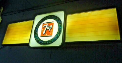 "VINTAGE 7 UP Lighted Motion Sign With Menu Boards 74"" x  22"" Early 60"