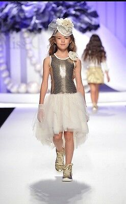 NWT MISS GRANT Hi/Low Party Dress with Toille Girls Size 10