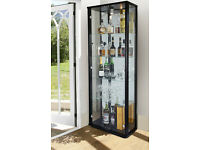 Commercial Lockable Double Glass Display Cabinet Unit – Black, Silver, Dark Brown, Oak effect