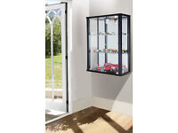 ENTRY PLUS Double Wall Mounted Glass Display Cabinet – BLACK or WHITE finish