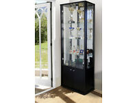 NEPTUN LOCKABLE DOUBLE RETAIL OR DOMESTIC USE GLASS DISPLAY CABINET WITH STORAGE IN BLACK