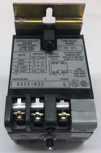 ALLEN BRADLEY 852S-NSC SOLID STATE TIMING RELAY 300 VAC 3 AMPS 1-60 SEC