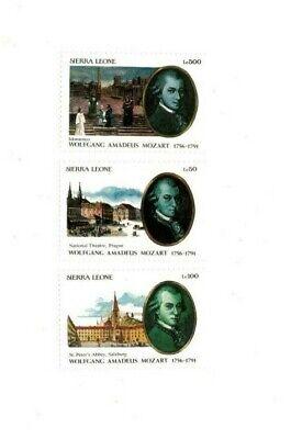 VINTAGE CLASSICS - Sierra Leone 1439-41 Mozart - Set Of 3 Stamps - MNH