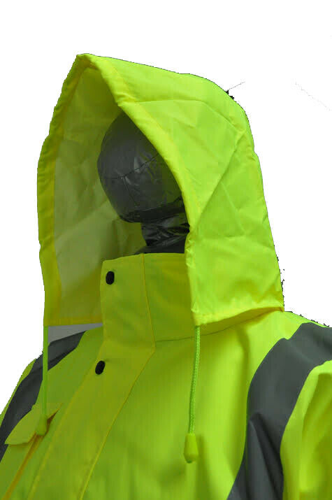 Hi-Vis Class 3 Safety Long Jacket Neon Reflective Rain Coat Hooded Work Parka
