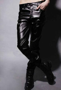 MOTORCYCLE MENS SLIM FIT SEXY CASUAL PANTS FAUX LEATHER TROUSERS ROCK PUNK JEANS
