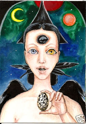 ACEO RAVEN CROW RYTA GOTHIC WICCA HALLOWEEN WITCH ANGEL FAIRY MAGIC WHIMSICAL ](Vintage Halloween Portraits)