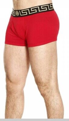 New Versace Mens Medusa Boxer,Trunks,Underwear - Red and Gold - Size Medium