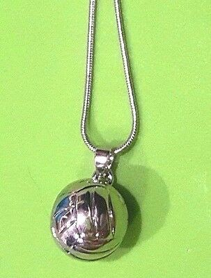 NewSilver 3D Volleyball Pendant Charm Necklace ](Volleyball Charm)