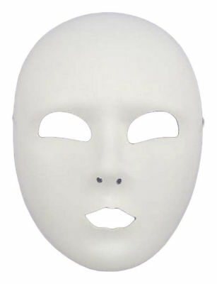 Morris Costumes Adult Unisex Plastic White Full Eye Cut Out Face Mask. FM60819 - Halloween Cut Out Face Masks