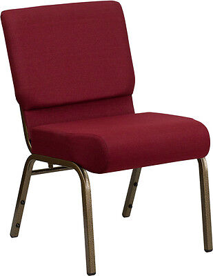 Lot Of 50 21 Extra Wide Burgundy Fabric Stacking Church Chair- Gold Vein Frame