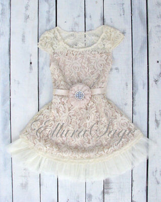 Rustic Lace Flower Girl Dress with Champagne Sash by Ellura Sage (Flower Girl Dress With Lace)