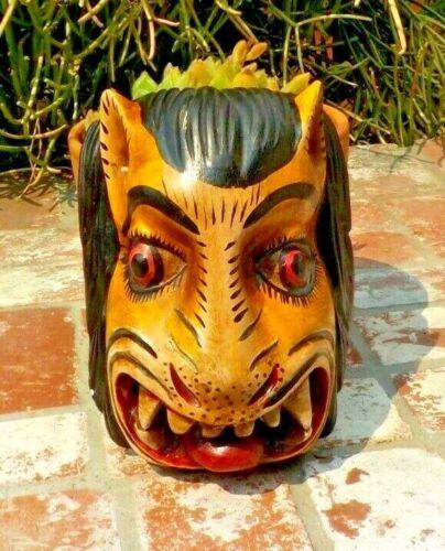TIGRE TIGER DANCE COTTONWOOD WOOD MASK MADE IN GUERRERO MEXICO FPLK ART
