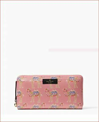 New Authentic Kate Spade Daycation Camel Party Neda Zip-around Wallet WLRU5284