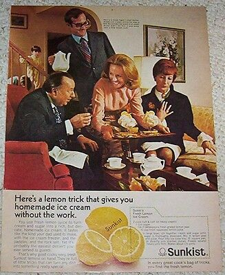 1972 print ad - Sunkist Lemons homemade lemon ice cream recipe Advertising Page - Homemade Lemon Ice Cream
