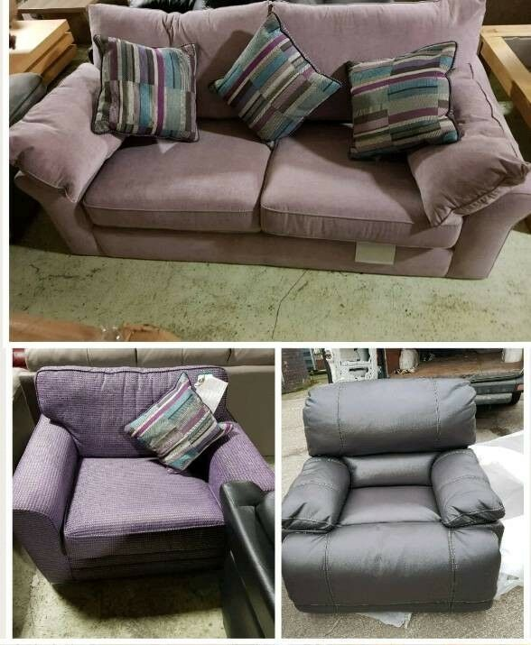 Purple 3 seater sofa & armchair