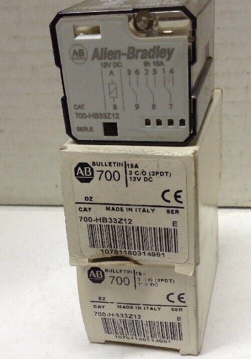 Allen-Bradley 700-HB33Z12 Series E Cube Relay 12VDC LOT OF 2