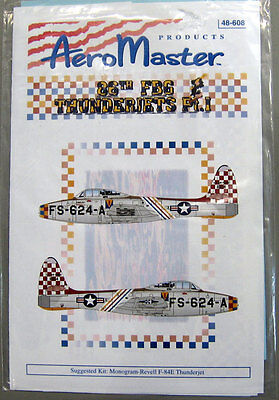 Aeromaster 48-608 86th FBG Thunderjets Pt.I Decal Sheet