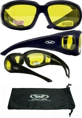 Motorcycle Glasses Yellow Lens Fit Over RX Perscription Glasses Motocross (Perscription Motorcycle Glasses)