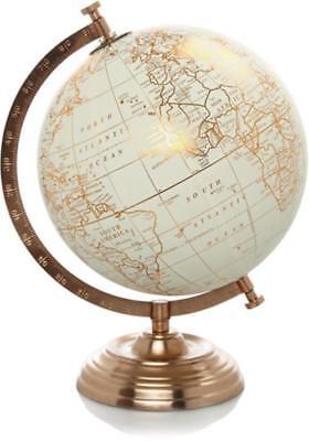 Copper Metal World Globe Stand Vintage Rotating Atlas Office Desk Ornament